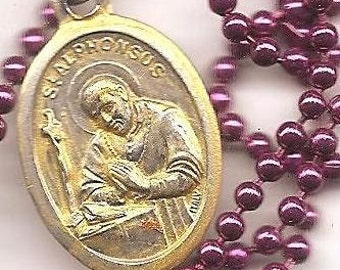 Arthritis, St. Alphonsus Patron Saint Necklace on Raspberry Ball Chain