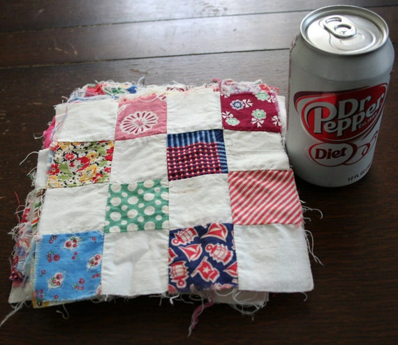 lot of 26 vintage Feedsack sixteen - four over four Patch Quilt squares - quilting blocks fabric