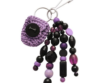 Beaded Keychain or Bag Charm, with Coin Holder (W-BKC-006), black purple keychain, women teen girl accessory