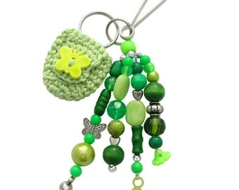 Beaded Keychain or Bag Charm, with Coin Holder (W-BKC-008), women accessory, teen accessory, green keychain