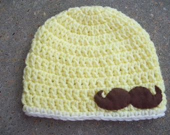 Infant Crochet Hat in Yellow with Felt Mustache Applique