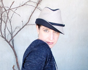 Wool Fedora Hat in Navy Blue & Beige Wool with Small Soft Brim, Menswear Inspired Headwear, Handmade Womens Fine Millinery : Fedora Courant