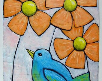 Blue Bird Garden - Acrylic Painting on Paper