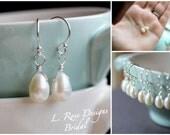 Bridesmaid Gifts, Set of Five, Freshwater Pearl Earrings, Dainty Teardrop Pearl Earrings, Ivory Freshwater Pearl Earrings, Sterling Silver