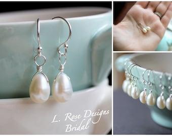 Pearl Earrings, Pearl Earrings Set for Bridesmaids, Set of Freshwater Pearl Earrings, Dainty Teardrop Pearl Earrings, White, Sterling Silver