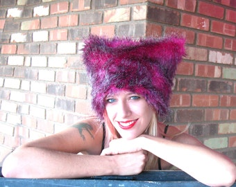 Grizzly Pink faux fur hat Kozy Kitty Hat womens fuzzy hat hot pink black hat rave wear Burning Man Mardi Gras photo booth festival clothing