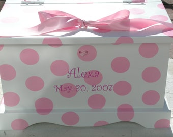 Baby Keepsake Box Baby Keepsake Chest for girl Pink Polka Dots  Memory Box hand painted personalized baby gift