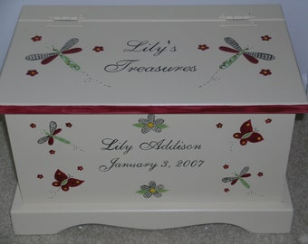 Keepsake chest baby memory box personalized - Burgundy Country Critters baby gift hand painted