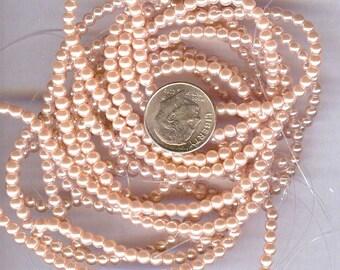 3mm Elegant Dusty Pink Glass Pearls 50 pcs