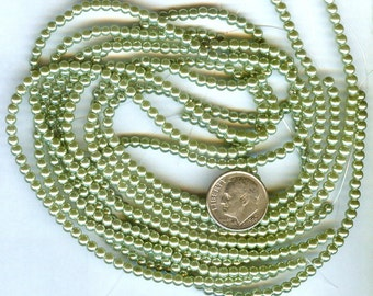 3mm Elegant Olive Green Glass Pearls 140 pcs