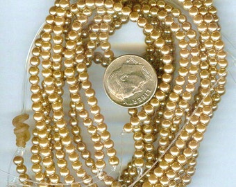 3mm Elegant Golden Glass Pearls 50 pcs