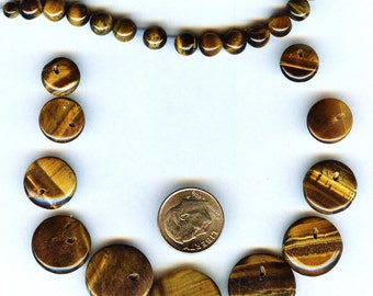 STRIKING Tiger Eye Graduated Disc and Round Beads 10-20mm 27 pcs
