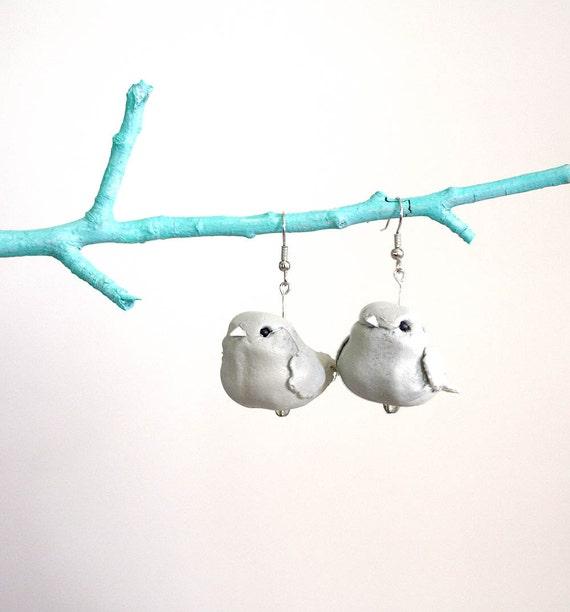 Gray Birdie Bird Bird Earrings // Vegan