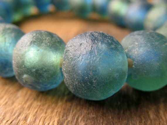 Fair Trade Recycled African Glass Beads in Blue Green - set of 6