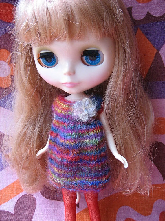 Blythe Cute Rainbow Mohair Smock Dress with Flower