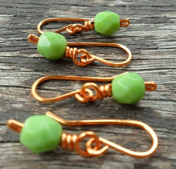 Crochet Stitch Markers Opaque Green Copper Small Hooks Set of 4