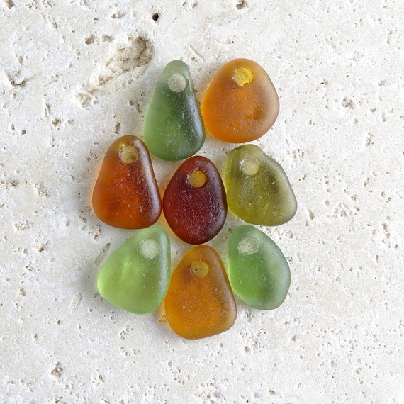 West Coast Rainforest Collection - 8 Small-Sized Top-Drilled Genuine Sea Glass Pendants