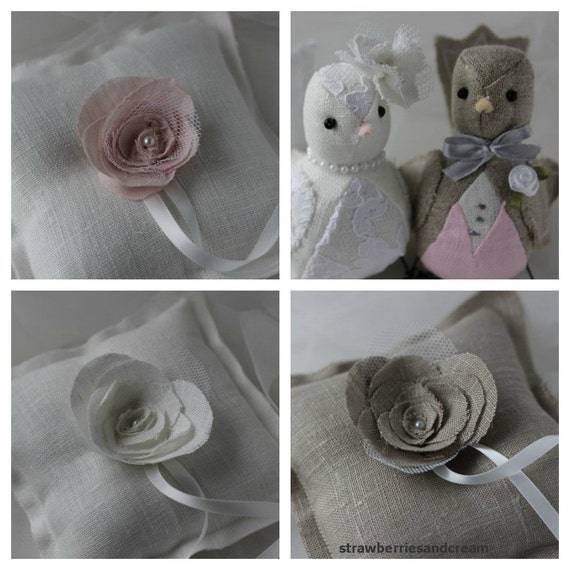 Linen Ring Pillow  -  Wedding Ring Pillow - Ring bearer pillow - Rustic - Contemporary Custom Order