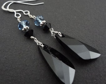 DARKEST NIGHT black and blue swarovski crystal long drop bridesmaid earrings with sterling silver chain.  Wedding jewelry.