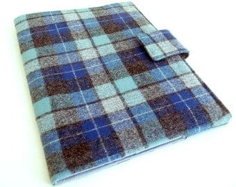 Blue and Grey Plaid Wool iPad 2 Cover also fits iPad 3 and 4, soft book style