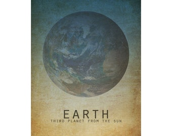 11x14 Earth Art Print, Solar System Astronomy Poster, Space Print, Planet Artwork, Astrophysics Science Posters