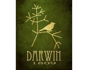 Darwin Poster 16x20 Science Art Print, Darwin Evolution Poster, Tree Of Life, Steampunk Rock Star Scientist Art, Geek Office Wall Decor