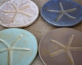 Handmade Dishes Handmade Pottery Wedding Gift Tapas Dishes Dessert Plates Starfish Nautical Dishes Beach Wedding MADE TO ORDER