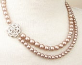 Champagne Pearl Bridal Necklace, Pearl Wedding Necklace, Champagne Bridal Jewelry, Vintage Wedding Jewelry, Champagne Necklace, ROSE