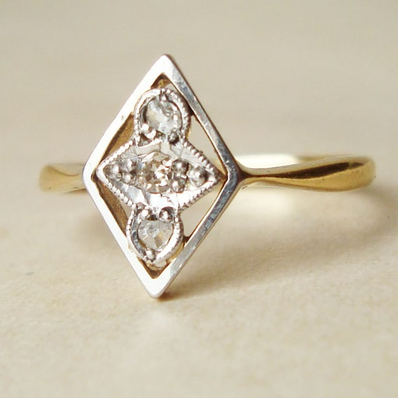 Art Deco Geometric Diamond Ring, Antique Platinum, Diamond & 18k Gold  Ring Size US 5.25/ 5.5