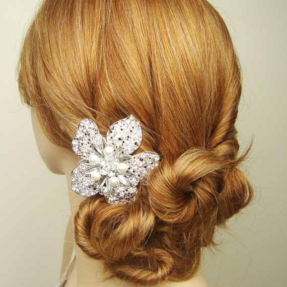 HALF PRICE Sale- Large Crystal Flower Wedding Hair Comb, Pearl and Crystal Bridal Hair Comb, Statement Wedding Hair Accessories, ASHLEY