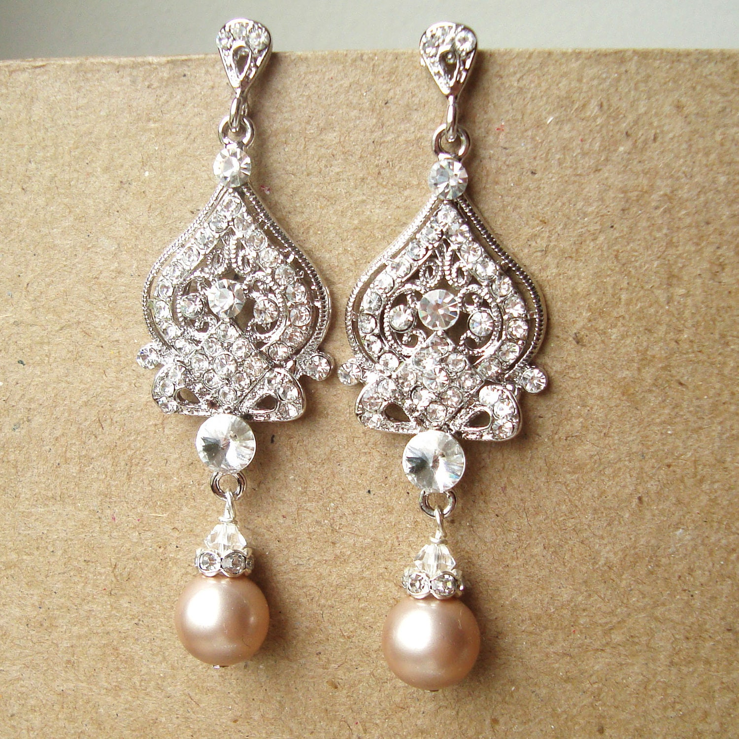 Champagne wedding earrings art deco bridal earrings vintage for Jewelry for champagne wedding dress