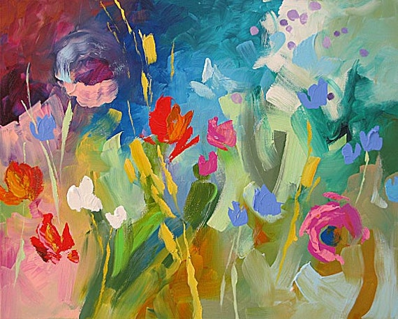 """PRINT of My Abstract Floral Landscape Acrylic Painting 8.5""""x11"""" by Linda Monfort"""