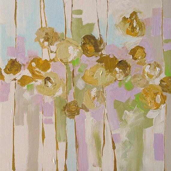 Still Life Floral Painting Original Landscape Art Flowers with Subtle Pastel Colors Acrylic Painting by Linda Monfort