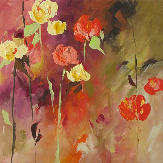Original Abstract Art Floral Painting Fiery Vibrant Impressionist Flowers Sundown by Linda Monfort