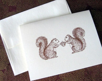 Two Squirrels and an Acorn Illustration Note Card