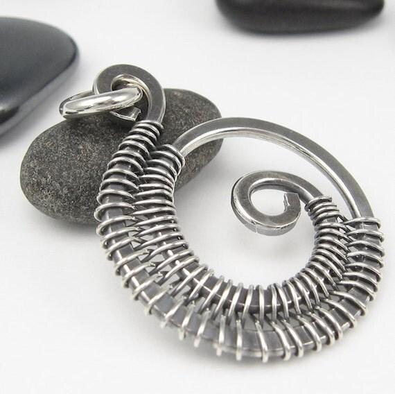 Silver Wire Pendant, Woven Wirework, Sterling Dangle
