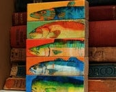 Fish Sticks- Saltwater Fish Art Block Set of 5 Fisherman Gift- Fishing Decor Arts- Gift for Husband- Gift, Custom Gifts Under 20- Dad Gifts