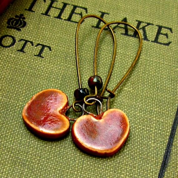 Ceramic Heart Dangle Earrings Plum Handmade