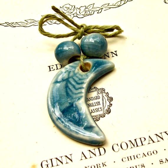 Ceramic Blue Moon Bead Set Handmade