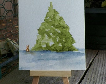 Bunny and the Pine Tree Watercolor Art Winter Holiday Original Painting by Artist Debra Alouise