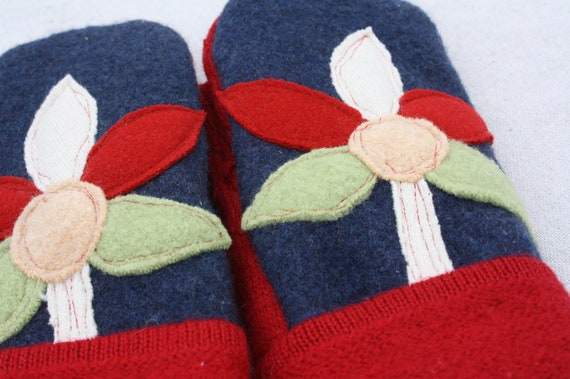 Felted Wool Mittens- Pinwheel Blooms-Upcycled Clothing