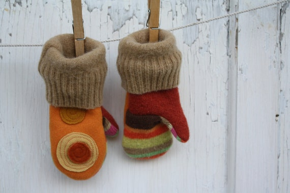 Felted Wool Mittens-Upcycled -Spotty Dotty- Toddler