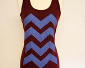 Cranberry and Cobalt Chevron Tank Top