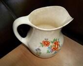 30's Vintage Paden Bakserve Pottery pitcher milk jug creamer shabby chic orange rose floral