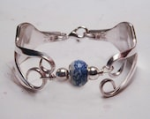 Silver Fork Bracelet Recycled Silverware Jewelry Dione Floral Bead Made to Order