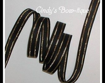 Black And Gold Grosgrain Ribbon Metallic Captain's Stripe 5/8 inch wide cbfiveeight