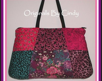 Magenta Leopard Purse Turquoise Purple Pink Purple Black Metallic Gold Tote Bag