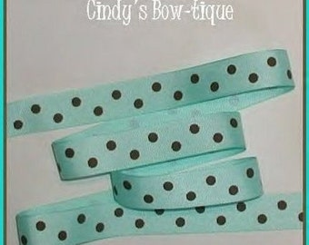 Chocolate Brown Dots On Aqua Grosgrain Ribbon Polka Dot 5 y 7/8 wcbseveneight