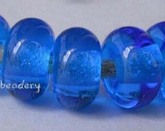 Lampwork Spacer Glass Beads 5 DARK AQUA blue Glossy & Matte Handmade Donut Rondelle - size options