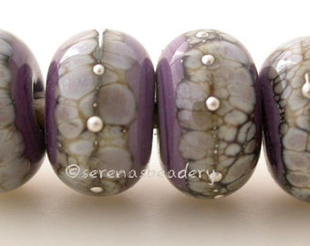 NEW VIOLET Silvered Granite Lampwork Glass Bead Set - taneres handmade purple silver